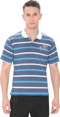 THHIC Striped Men Polo Neck Blue T-Shirt