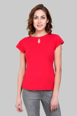 Crease   Clips Casual Cap Sleeve Solid Women Red Top