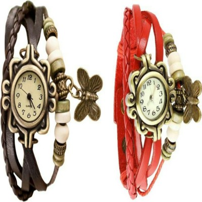 IIK rakhi black red combo 2 combo watche for girl with brown syntiticleather strapre comfortable...judge Watch  - For Girls   Watches  (IIK)