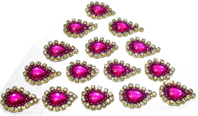GOELX Patches Colorful Drop Shape Handmade Appliques Rhinestone Embellishments For Decoration, Crafts Ideas, Jewelery Making, Easy to Use Pack of 50 - Pink