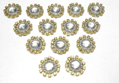 GOELX Patches Colorful Round Shape Handmade Appliques Rhinestone Embellishments For Decoration,Crafts Ideas, Jewelery Making, Easy to Use Pack of 50 - Silver