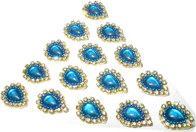 GOELX Patches Colorful Drop Shape Handmade Appliques Rhinestone Embellishments For Decoration, Crafts Ideas, Jewelery Making, Easy to Use Pack of 50 - Turquoise Blue
