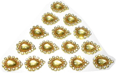 GOELX Patches Colorful Drop Shape Handmade Appliques Rhinestone Embellishments For Decoration, Crafts Ideas, Jewelery Making, Easy to Use Pack of 50 - Golden