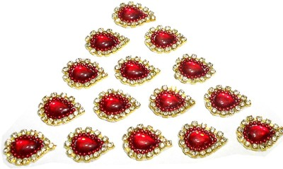GOELX Patches Colorful Drop Shape Handmade Appliques Rhinestone Embellishments For Decoration, Crafts Ideas, Jewelery Making, Easy to Use Pack of 50 - Red