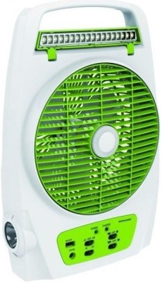 Sonashi Solar AC / DC Rechargeable with Inbuilt Torch, USB 5 V 1A Charger port & 18 LED Emergency light|upto 6 Hrs backup 3 Blade Table Fan(Green)  available at flipkart for Rs.3195