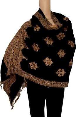 MATELCO Viscose, Wool Woven Women Shawl(Black, Beige)