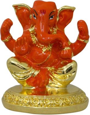 Gods & Gifts Premium Gold Plated Lord Ganesha Statue Showpiece  -  5.5 cm(Polyresin, Orange)  available at flipkart for Rs.650