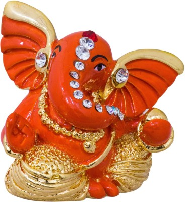Gods & Gifts Premium Gold Plated Lord Ganesha Statue Showpiece  -  5 cm(Polyresin, Orange)  available at flipkart for Rs.595