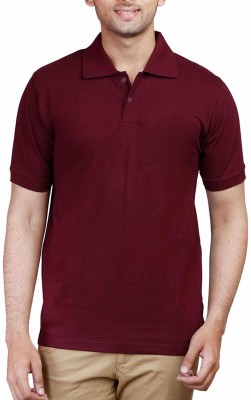 TNX Solid Men's Polo Neck Maroon T-Shirt