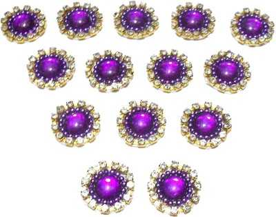 GOELX Patches Colorful Round Shape Handmade Appliques Rhinestone Embellishments For Decoration,Crafts Ideas, Jewelery Making, Easy to Use Pack of 50 - Purple