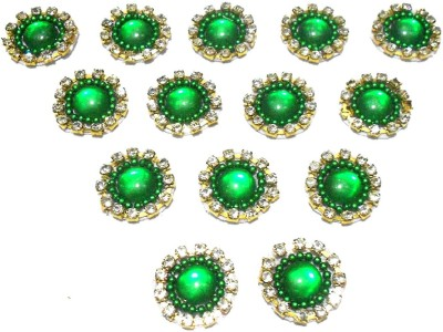 GOELX Patches Colorful Round Shape Handmade Appliques Rhinestone Embellishments For Decoration,Crafts Ideas, Jewelery Making, Easy to Use Pack of 50 - Green