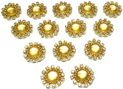 GOELX Patches Colorful Round Shape Handmade Appliques Rhinestone Embellishments For Decoration,Crafts Ideas, Jewelery Making, Easy to Use Pack of 50 - Golden