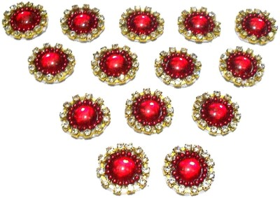 GOELX Patches Colorful Round Shape Handmade Appliques Rhinestone Embellishments For Decoration,Crafts Ideas, Jewelery Making, Easy to Use Pack of 50 - Red