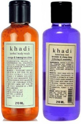 Khadi Herbal COMBO PACK OF LAVENDER & YLANG YLANG BODY WASH(420 ml, Pack of 2)  available at flipkart for Rs.240