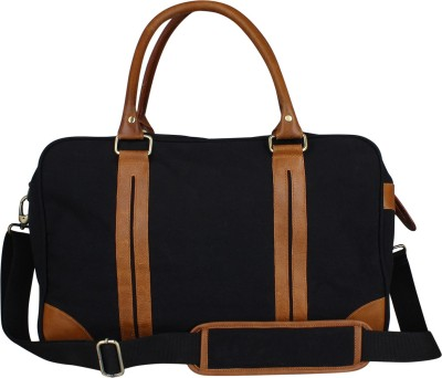 db6de6e17c Buy Zobello 17 inch 43 cm Genuine Leather Dyed Canvas Duffle Bag Travel  Duffel Bag(Black) on Flipkart