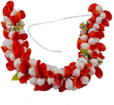 INAAYA South Indian Bridal Hair Gajra Veni Hair Accessories (Orange / White) Hair Accessory Set(Orange, White)