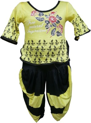 Sahara Girls Party(Festive) Top Dhoti Pant(Yellow)  available at flipkart for Rs.195