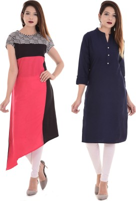 Blezza Casual Self Design Women Kurti(Pack of 2, Multicolor)