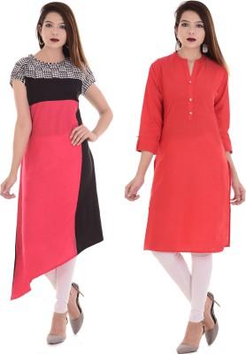 Desier Formal Self Design Women Kurti(Pack of 2, White, Light Blue)