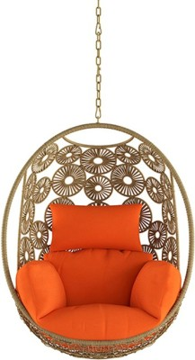 Urban Ladder Kyodo Swing Chair With Long Chain (Colour : orange) Metal Outdoor Chair(Finish Color - Orange)