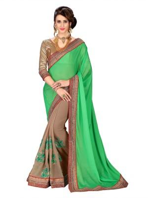 Sanku Fashion Solid, Embroidered, Self Design Fashion Heavy Georgette, Poly Silk, Jacquard Saree(Light Green, Beige) Flipkart