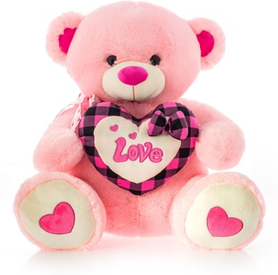 Dimpy Stuff Dimpy Bear W/Heart Love Emb. Pink  - 50 cm(Multicolor)  available at flipkart for Rs.839