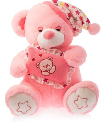 Dimpy Stuff Dimpy Bear W/Cap & Cushion Pink  - 40 cm(Red)  available at flipkart for Rs.559