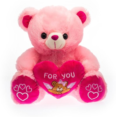 Dimpy Stuff Dimpy Bear W/Heart For U Emb. Pink  - 30 cm(Red)  available at flipkart for Rs.419