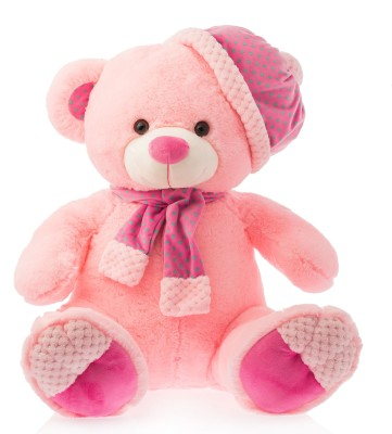 Dimpy Stuff Dimpy Bear W/Cap & Scarf Pink  - 40 cm(Red)  available at flipkart for Rs.559