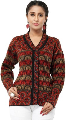 Modeve Self Design V-neck Casual Women Multicolor Sweater