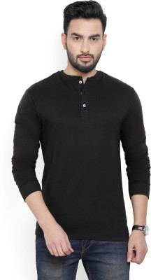 Billion PerfectFit Solid Men Henley Black T-Shirt at flipkart