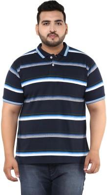 John Pride Striped Men Polo Neck Dark Blue, White, Grey T-Shirt