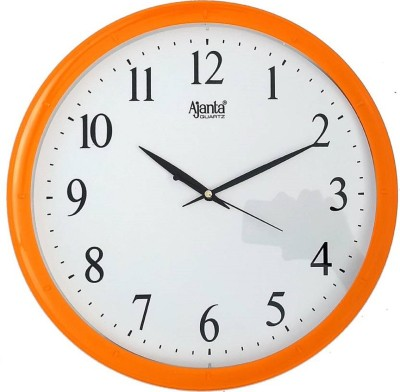 Sokariya Ajanta Analog Wall Clock(Orange, With Glass)