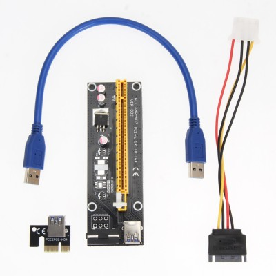 ACUTAS Pci-e Extender 1x To 16x Pci Express Riser Card Usb 3.0 Cable Sata To 4pin Network Interface Card(Black)  available at flipkart for Rs.599