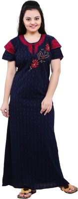 TRUNDZ Women Nighty(Dark Blue)