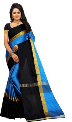 Bhuwal Fashion Solid Fashion Silk Cotton Blend Saree(Multicolor)