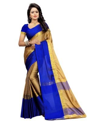 Bhuwal Fashion Solid Fashion Silk Cotton Blend Saree(Multicolor)