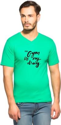 Clifton Printed Men's V-neck Dark Green T-Shirt