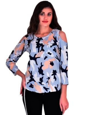 Stop Look Casual Cold Shoulder Printed Women Multicolor Top
