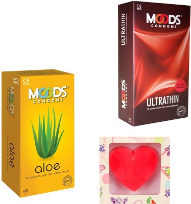 Moods Ultra Thin & Aloe Condoms With Premium Heart Shape Soap Condom(Set of 2, 24S)  available at flipkart for Rs.200