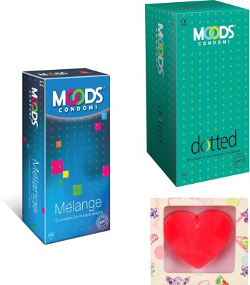 Moods Dotted & Melange Condoms With Premium Heart Shape Soap Condom(Set of 2, 24S)  available at flipkart for Rs.200