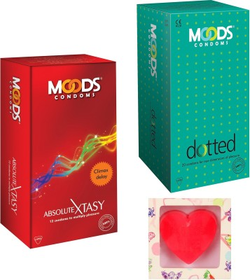 Moods Dotted & Absolute Xtasy Condoms With Premium Heart Shape Soap Condom(Set of 2, 24S)  available at flipkart for Rs.200