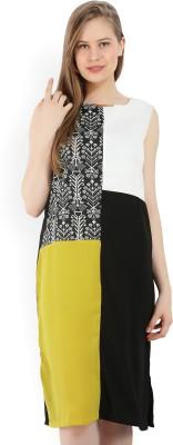 W Women A-line Black, Yellow, White Dress
