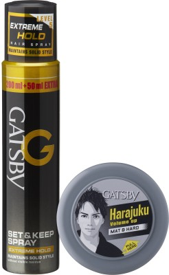Gatsby Set & Keep Hair Spray Extreme Hold 250 ml with Hair Styling Wax Mat & Hard 75 g Hair Styler