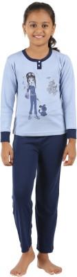 Sand Beach Girl's Casual T-shirt Pant(Blue)
