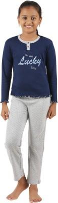 Sand Beach Girl's Casual T-shirt Pant(Dark Blue)