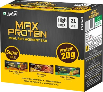 RiteBite Max Protein Meal replacement Protein Bars(414 g, Choco slim+Green Tea Orange+Green coffe beans)