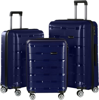 a5f6b02dc 57% OFF on Nasher Miles Santorini PP Hard-Sided Luggage Set Of 3 Trolley/ Travel/Tourist Bags (55, 65 & 75 Cm) Navy Blue Check-in Luggage - 28 inch(Blue)  on ...
