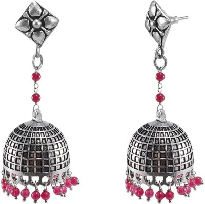 Silvesto India Ethnic Oxidized Jewellery-Danglers With Studs And Pink Beads Large Jhumkas Earrings Crystal Alloy Jhumki Earring  available at flipkart for Rs.492
