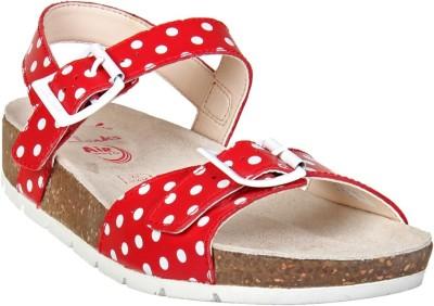 Clarks Girls Velcro Flats(Red)